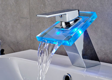 China Color Changing LED Waterfall Bathroom Basin Faucet ROVATE With Glass Spout supplier