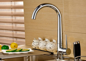 China Modern ROVATE Single Lever Kitchen Faucet , Chrome Kitchen Faucet Polished Surface supplier