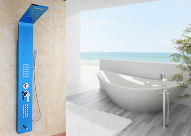 China Blue Painting ROVATE Wall Mount Shower Panel Massage Function 1360*190mm Size supplier