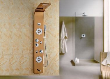 China 5 Way Massage Jets Bath Shower Panels , Waterfall Shower Panel Gold Painting ROVATE supplier